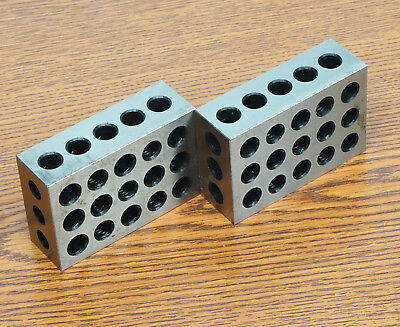 1 Pair Precision Matched Mill Machinist 1-2-3 Block Set 23 Holes in Case