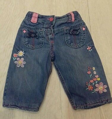 M&s - Baby Girls Pretty Embroidered Jeans 6-9 Months