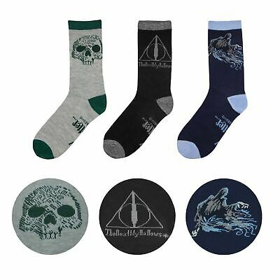 Deluxe Set of 3 DEATHLY HALLOWS themed socks with gift box from Cinereplicas