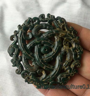 Exquisite Chinese Old Jade Pendant Amulet Hand Carved Jade tablets L89