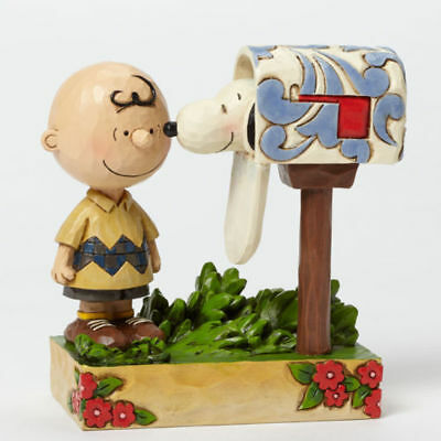 Jim Shore Peanuts Special Delivery Charlie Brown with Snoopy Mailbox Figurine