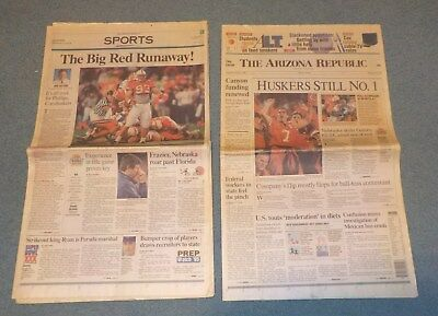 Nebraska Huskers 1995 National Championship Newspaper The Arizona Republic