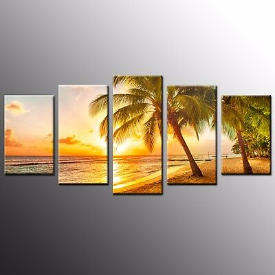 Seaside Sunset Photo Canvas Print Art Canvas Painting Wall Art Decor 5pcs