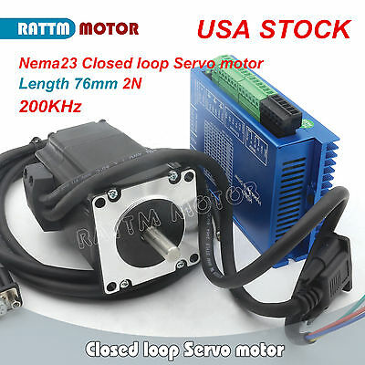 【US Ship】CNC Kit Nema23 76mm 2N.m Closed-Loop Servo Motor 3A&HSS57 Hybrid Driver
