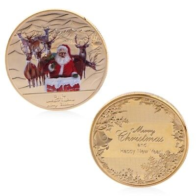 Merry Christmas Santa Claus Deer Commemorative Coin Xmas Souvenir Decor Golden