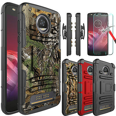 For Motorola Moto Z2 Play/Z3 Play Case With Kickstand Belt Clip+Screen Protector