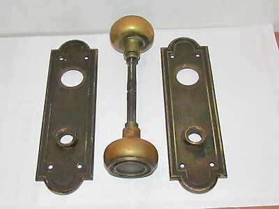 Antique Sargent & Co. Large Solid Cast Brass Metal Door Knobs And Back Plates