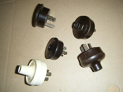 Five Vintage Bakelite Electrical Plugs for old radios ect. (lot 2)