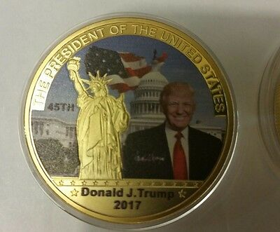 45th US President Donald Trump money , coin 24k gold Plated Commemorative bill