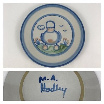 "M.A. Hadley Blue Duck Country Scene 8 3/4"" Salad Dessert Plate Pottery"