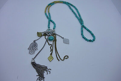 Gold Filled & Turquoise HAMSA Hand Necklace Evil Eye Protection Pendant Israel