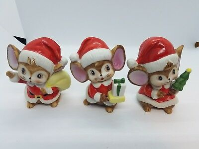Set of 3 ! Vtg HOMCO Home Interiors Christmas Mice with Santa Suits Mouse CUTE!