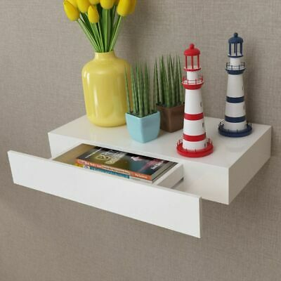 vidaXL Floating Wall Display Shelf 1 Drawer Book/DVD Storage White MDF 48 cm