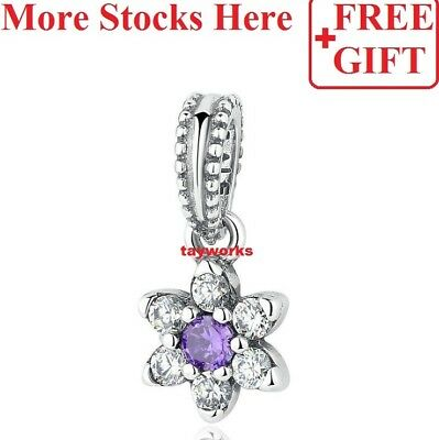 FeatherWish 925 Sterling Silver Forget Me Not True Love Flower Charm - With Cubic Zirconia Fits Pandora Bracelet 3r5be1R4Q