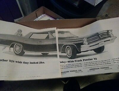 pontiac ad bonneville newspaper 63 poster photo dealer