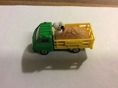 "Vintage Aviva Snoopy Peanuts Mini Die Cast Toy ""Snoopy in Farm Truck"""