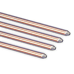 ERICO Copper Bonded Steel Ground Rod,Dia 5/8 In,4 Ft. L, 615840