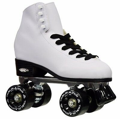 New Epic Classic White High-Top Quad Roller Skates w/ Black Outdoor Wheels