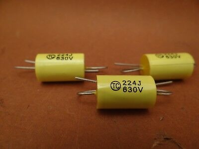10 x 0.22 uF / 630 VOLT POLYESTER AXIAL CAPACITOR * NEW STOCK * 5% TOL. *