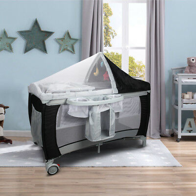 Travel Cot Bed Play Pen Infant Baby Child Bassinet Playpen Entryway W/ Bag & Net
