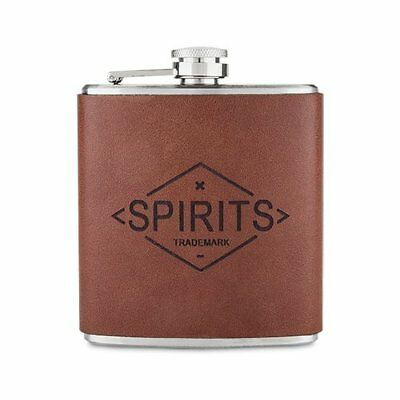 Leather Flask, Stainless Steel Lid Pocket Drinking Whiskey Flasks, 6 Oz