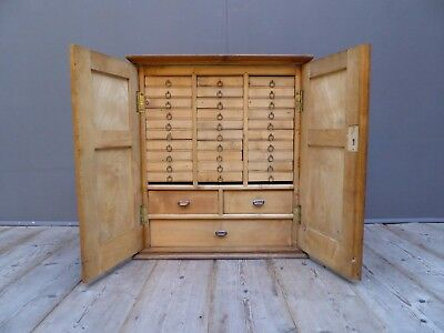 Antique Vintage Fly Tying Fishing Cabinet Bank Of Drawers Cupboard Chest