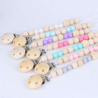 Natural Wooden Baby Infant Dummy Pacifier Clip Chain Soother Holder Sensory Toy