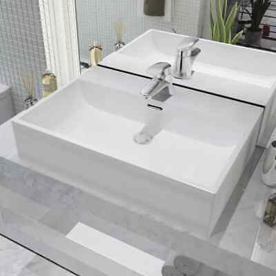 vidaXL Bathroom Cloakroom Wash Basin Sink with Faucet Hole Tap Ceramic White