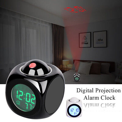 LED Digital LCD Voice Talking Time Temperature Projector Projection Alarm Clock