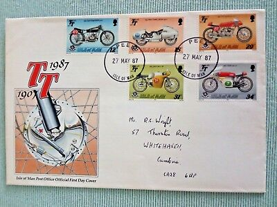 a...... ISLE OF MAN..FIRST DAY COVER...1987..TT..1907