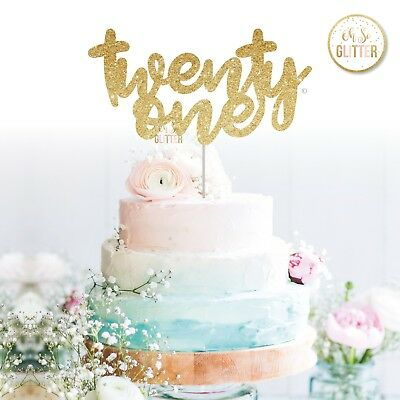 Twenty One Glitter Cake Topper 21 21st Birthday Sparkle Party Rose