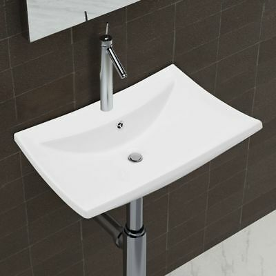 New Bathroom Ceramic Basin Vessel Sink Wash Basin Rectangular White 60x44x17 cm