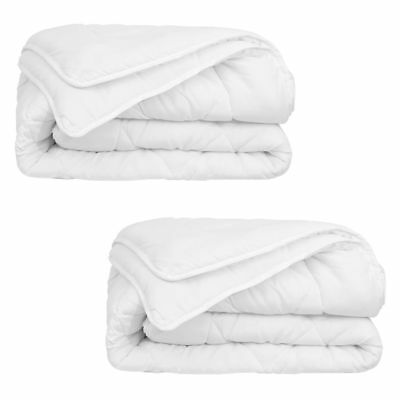 vidaXL 2 pcs 4 Seasons Sleeping Bed Duvet/Quilt with Double Layer Beddding White