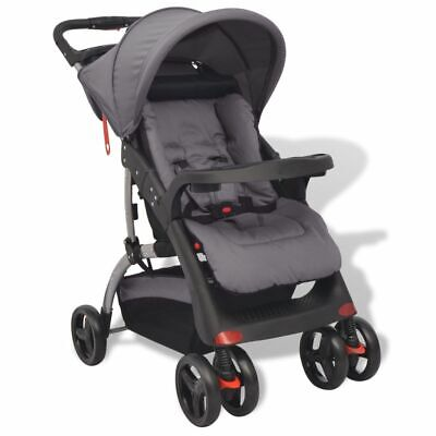 vidaXL Buggy Grey 102x52x100cm Baby Toddler Travel Pram Pushchair Stroller