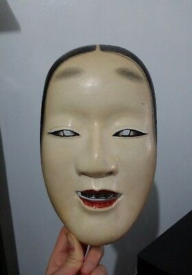 Japanese handcrafted Wood Theater Noh Mask Komote Exceptional Beauty