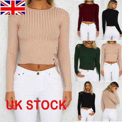 Fashion Womens Plain Knitted Lace up Cropped Jumper Top Sweater Ladies Tee Tops