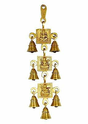 7 Brass Bells Hanging Hindu God Ganesha Statue Engraved For Luck Home Temple Use