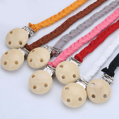 Handmade Braided leather Baby Infant Dummy Pacifier Clip Chain Soother Holder