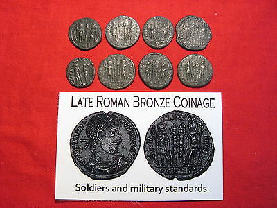 Ancient Roman coin 3rd 4th century AD Imperial standing figures w/ standards