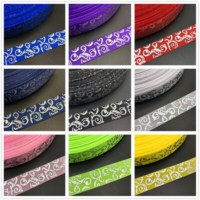 NEW DIY 5 Yards 20mm 25mm Silver pattern Grosgrain Ribbon Hair Bow Party Sewing