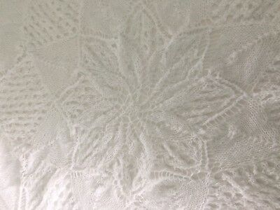 "REDUCED!!  White Hand Knitted Fine 3 Ply Baby Shawl Brand New 60"" Diameter"