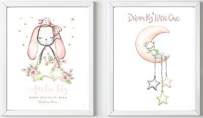 2 Personalised bunny dream big baby child name prints picture nursery gift art