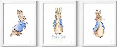 Set 3 Personalised Peter Rabbit baby name PRINT gift christening child picture