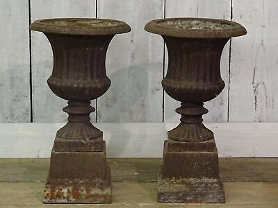 Pair Of Small Ornate Victorian French Cast Iron Decorative Planters Delivery