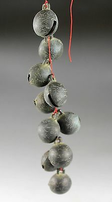 AMAZING CHINESE BEAST FACE MODELLING ANTIQUE BRONZE BELL (10 PCS) zp