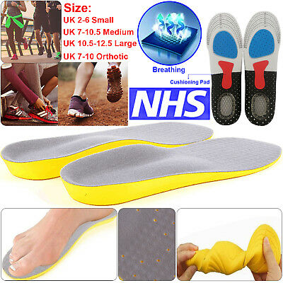 Pair of Memory Foam Unisex Orthopaedic Shoe Insoles Pads Trainer Foot Feet Heel