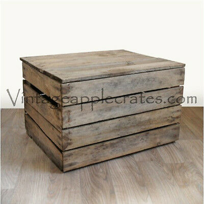 RUSTIC OTTOMAN WOODEN STORAGE BOX OR SIDE TABLE - vintage apple crate with lid.