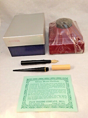 Vintage mid century beauti-rite fountain pen ink well set desk deco Writing New