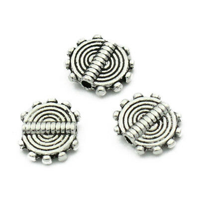 100Pcs Silver Tone Stripe Carved Round Spacer Beads 10x8.5mm(3/8 inchx3/8 i A5A1