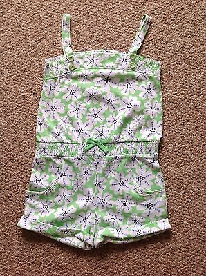 Girls pretty green/white floral 100% cotton playsuit 4-5 years **BNWOT**